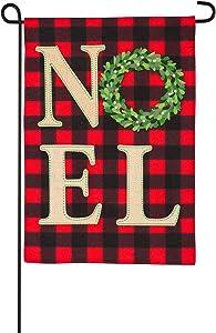 Evergreen Flag Holiday Décor Outdoor Flag for Winter or Christmas, Noel Xmas Wreath Garden Flag - 12.5 x 1 x 18 Inches Indoor Outdoor Decor for Your Lawn, Patio or Garden