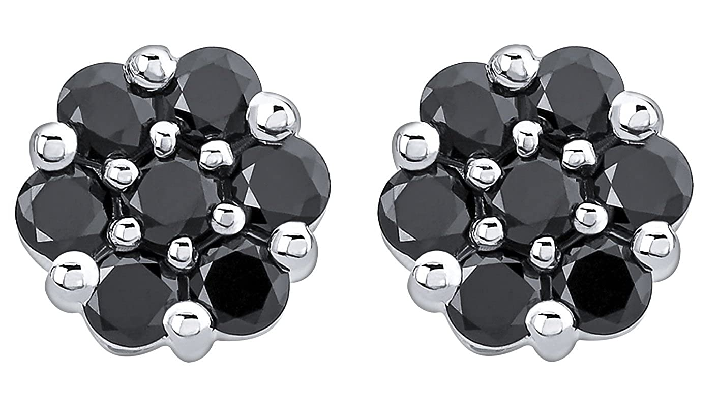 Prism Jewel 0.98 Carat Round 2.40MM Black Diamond Screw Back Cluster Earring White Gold Plated Silver