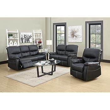 BestMassage Sofa Set Recliner Sofa 3 PCS Motion Sofa Loveseat Recliner  Leather Sofa Recliner Couch Manual