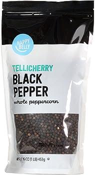Amazon Brand Happy Belly Tellicherry 16oz Black Pepper Whole Peppercorn