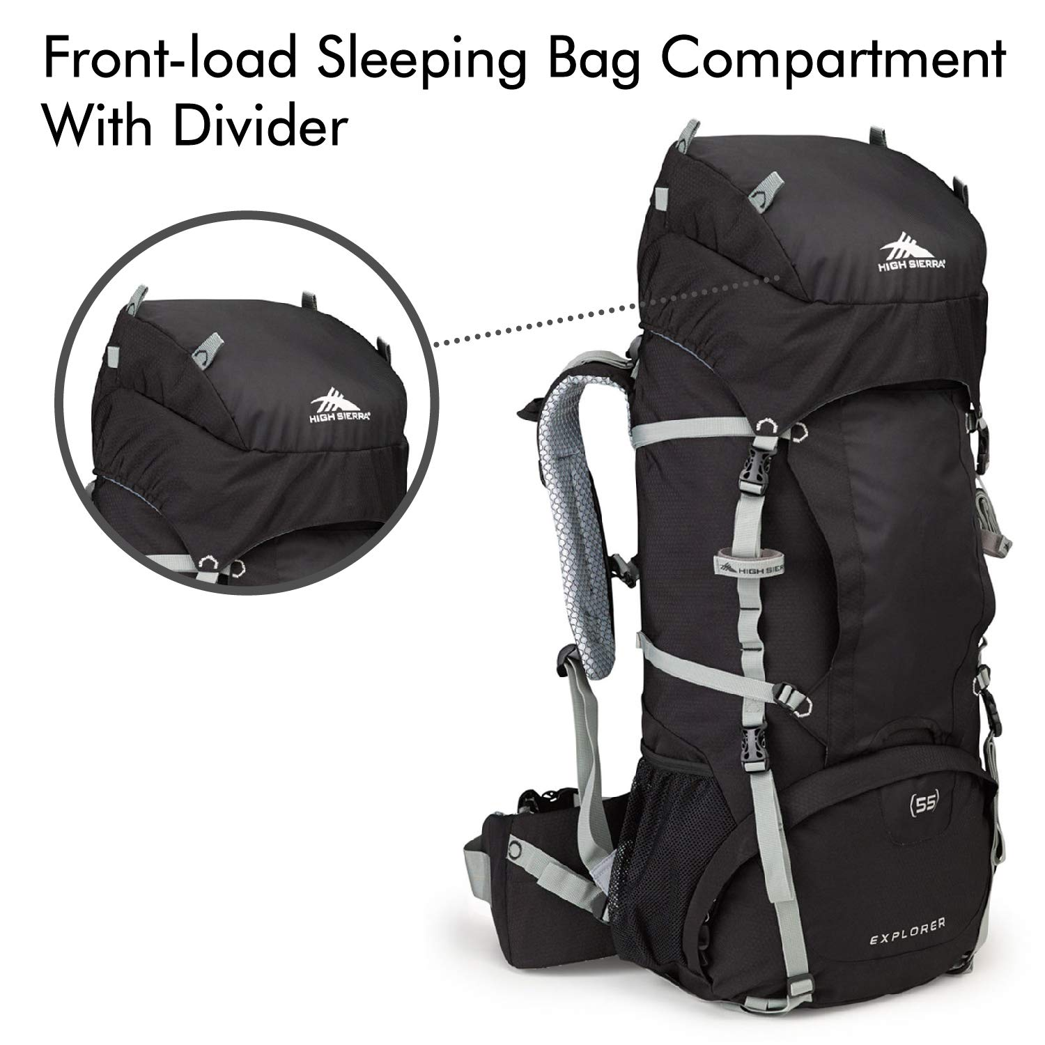725a8ea5b Amazon.com: High Sierra Explorer 55L Internal Frame Backpack, Top Load 55  Liter Hiking Backpack, Black/Black/Silver: Sports & Outdoors