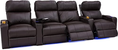Seatcraft Julius Big Tall 400 lbs Capacity Home Theater Seating Leather Power Recline and Powered Headrest, USB Charging Port, and Lighted Cup Holders, Brown, Row of 4 with Middle Loveseat