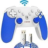 スイッチ コントローラー プロコン 無線 Bluetooth ジャイロセンサー 連射機能 振動 switch pro コントローラー (青+白)