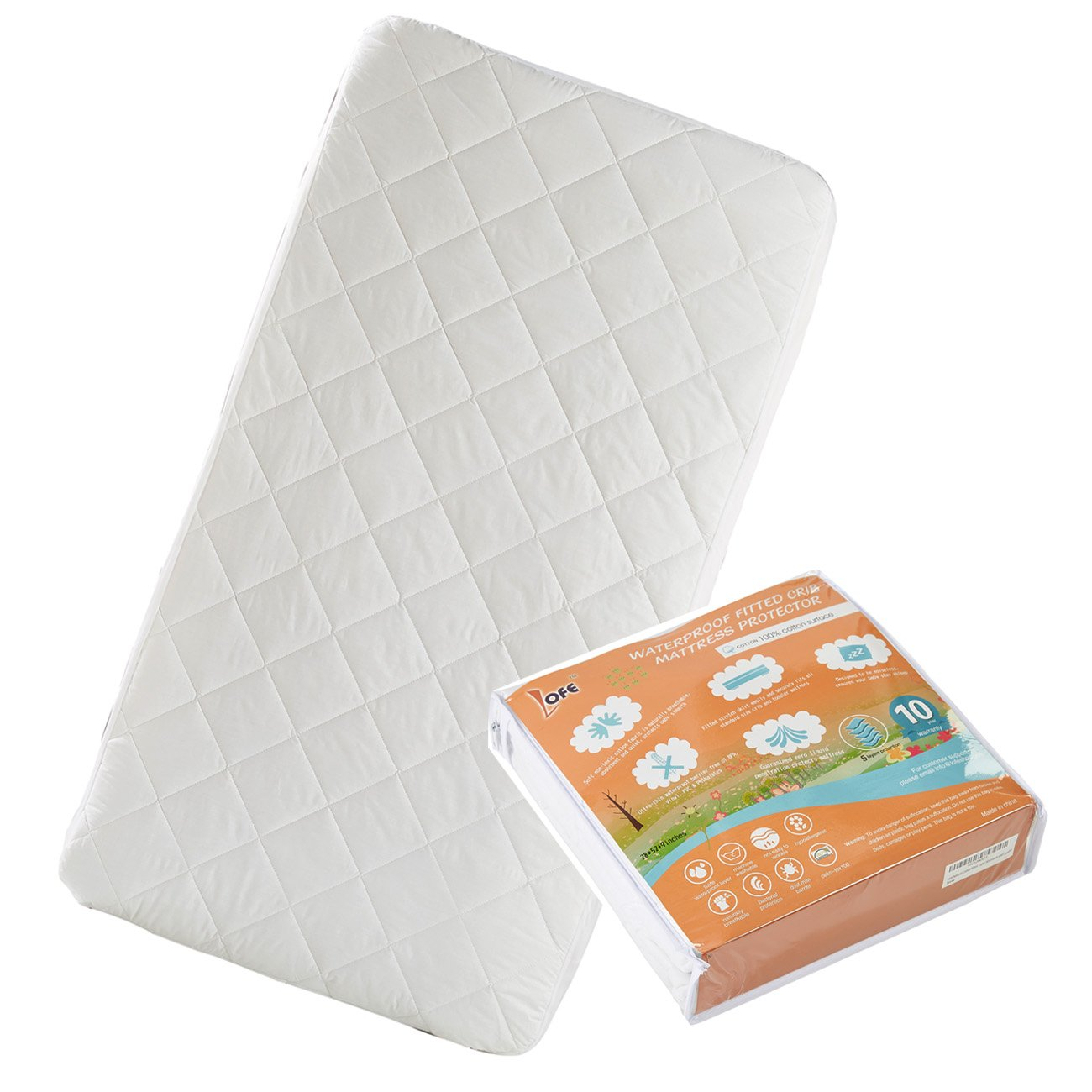 Lofe Cotton Fitted Crib Mattress Protector Waterproof - Infant Breathable Crib Mattress Pad - Toddler Baby Crib Mattress Cover28x52''