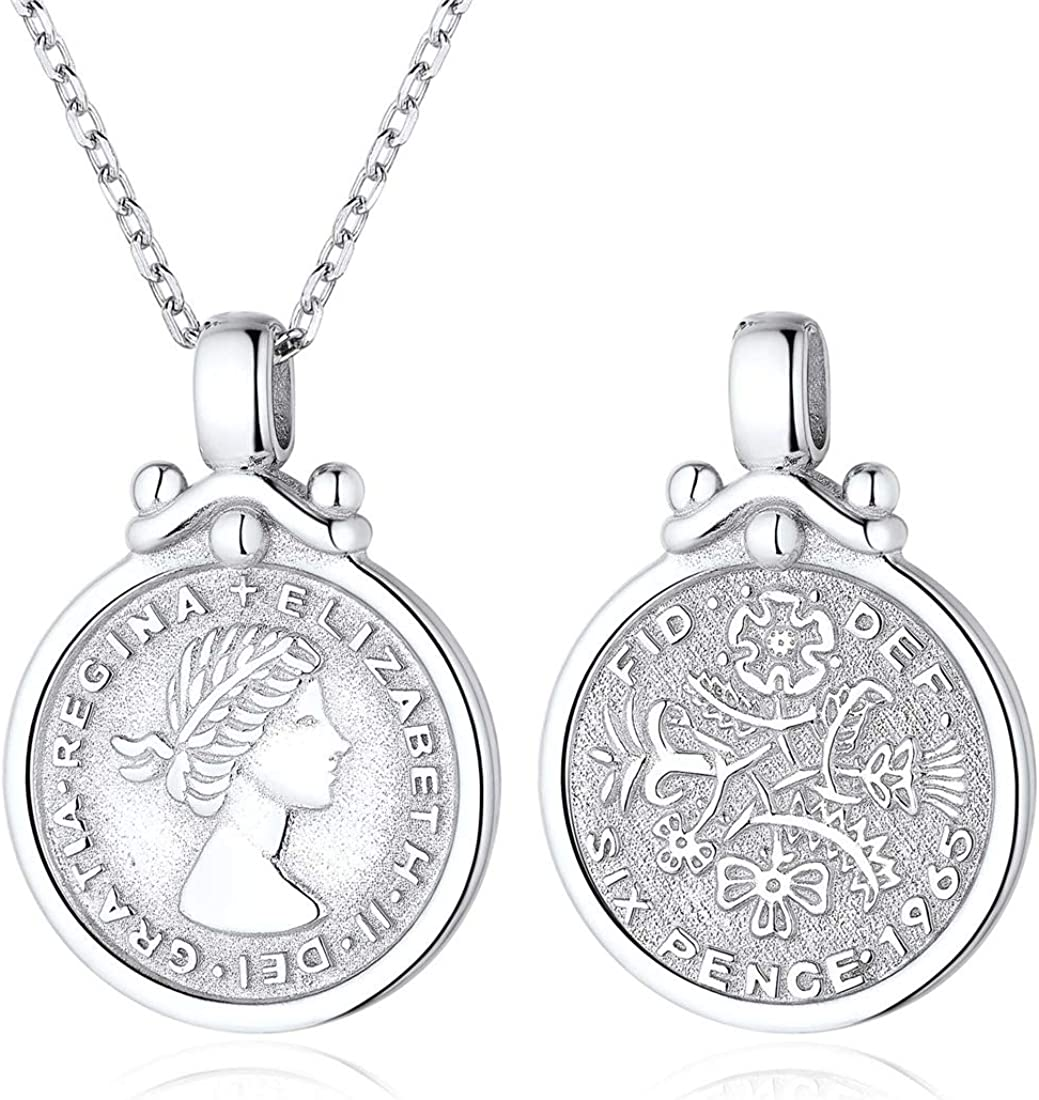 ChicSilver Coin Necklace 18K Gold/Platinum Plated Sterling Silver Vintage Circle Disc Special Coin Dainty Handmade Pendant Necklaces for Women (with Gift Box)