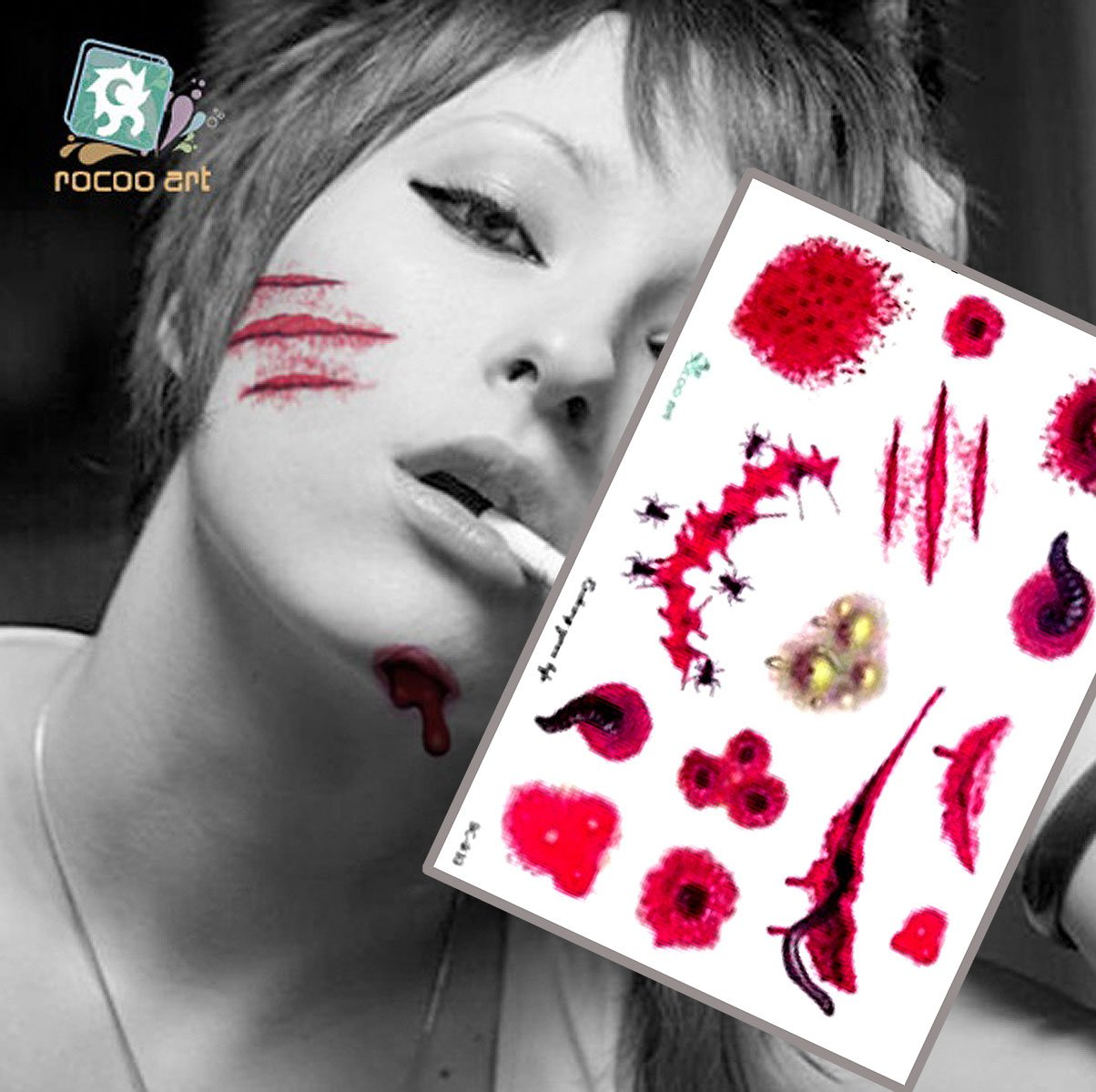 Blood Temporary Tattoo Stickers Horror Realistic Fake Wound Scab Scar for Cos Play Party Halloween,8pcs 8 patterns