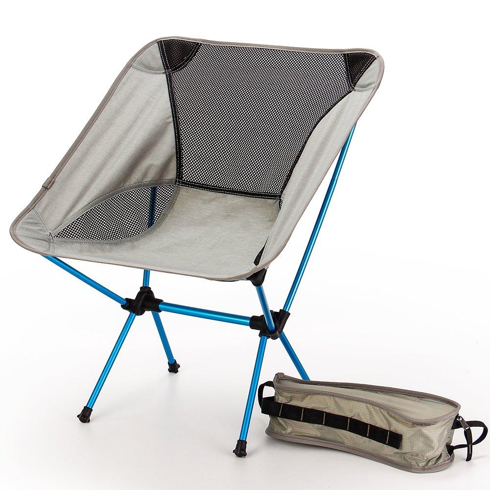 Tragbarer Faltbar Camping Stühle Campingstuhl Klappstuh Freizeitstuhl Strandstuhl Stark Und Haltbarer Ultraleichter Mit Tragetasche Für Wandern Angeln Strand Freien(Grau)