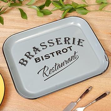 Vintage azul y Bold Negro Bistro Zinc Brasserie bandeja para servir. Ideal para el transporte