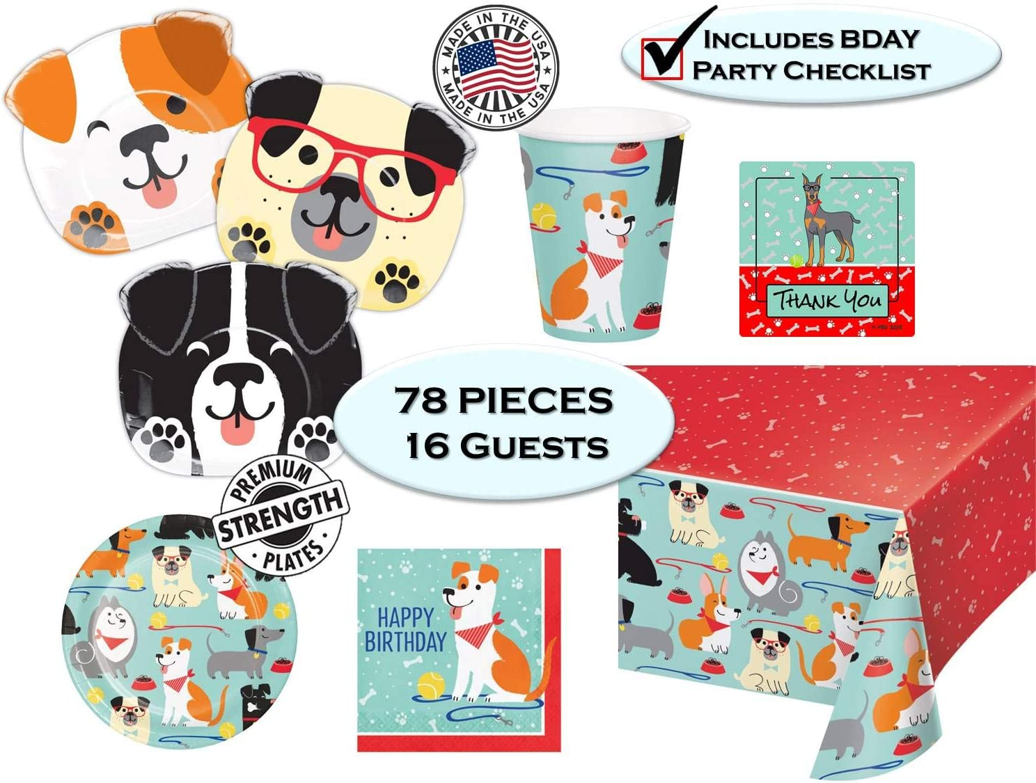 Dog Shaped Dinner Plates Dog Themed Birthdays Puppy Dog Party Pups Birthday Party Supplies Cups Napkins Tablecover Dessert Plates Thank You Stickers /& Birthday Checklist Set for 16 guest
