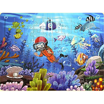 Layhome Puzzles 60 Pieces Durable Wooden Puzzle Children Fairy Story Animals Transportation Jigsaw (Ocean World) : Baby