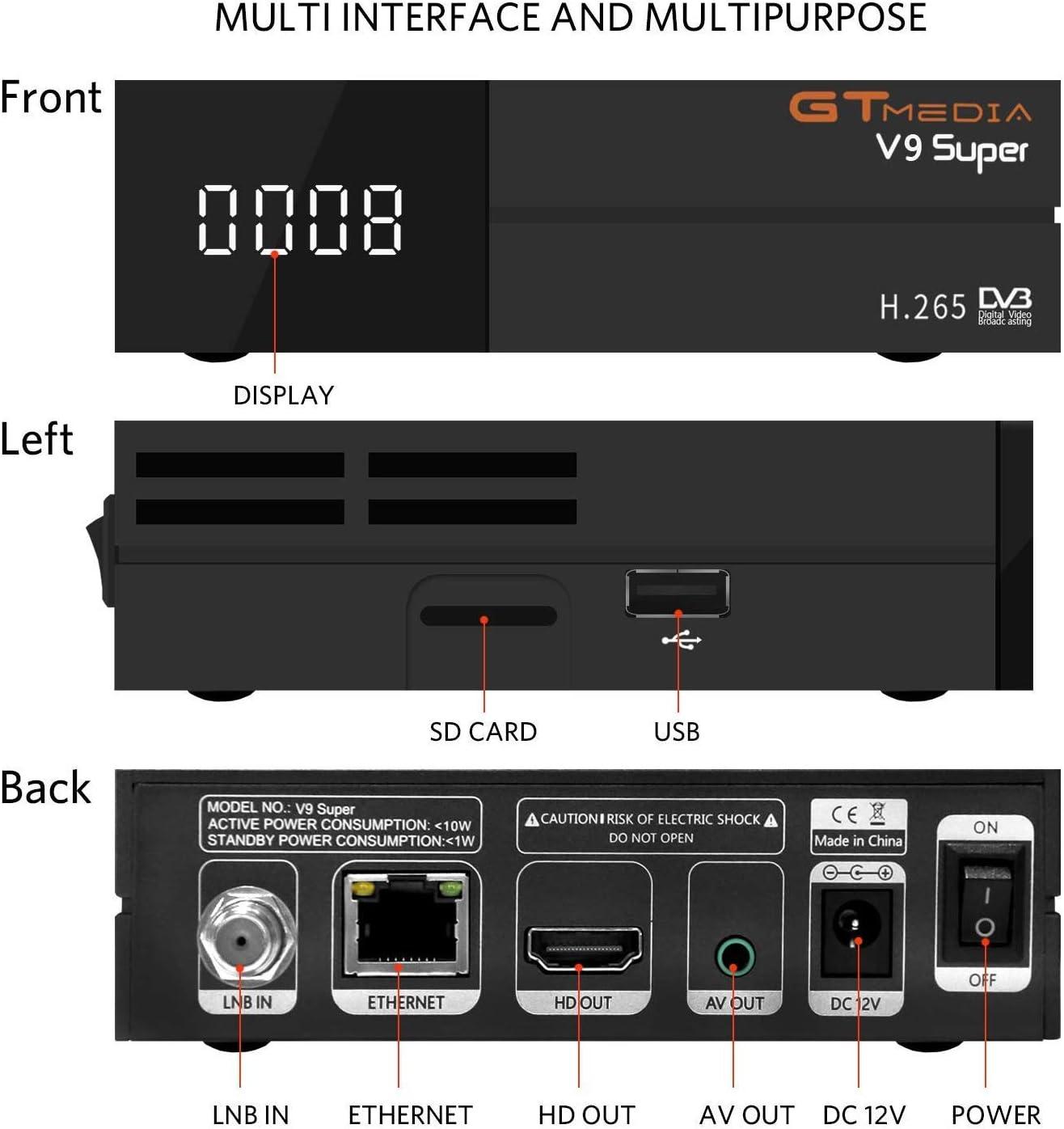 GT MEDIA V9 Super DVB S2 Satelite Ricevitore Decodificador Oficial Freesat Digital TV Sat Receptor Soporte H.265 1080P Full HD CCcam Newcam IPTV Youtube PVR PowerVu Biss chiave, con WiFi Incorporado: Amazon.es: