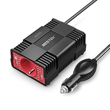BESTEK Inversor de Corriente 300W para Coche Convertidor con 1 Toma 12V a 220V-230V y 2 Puertos USB Adaptador de Mechero Encendedor de Coche