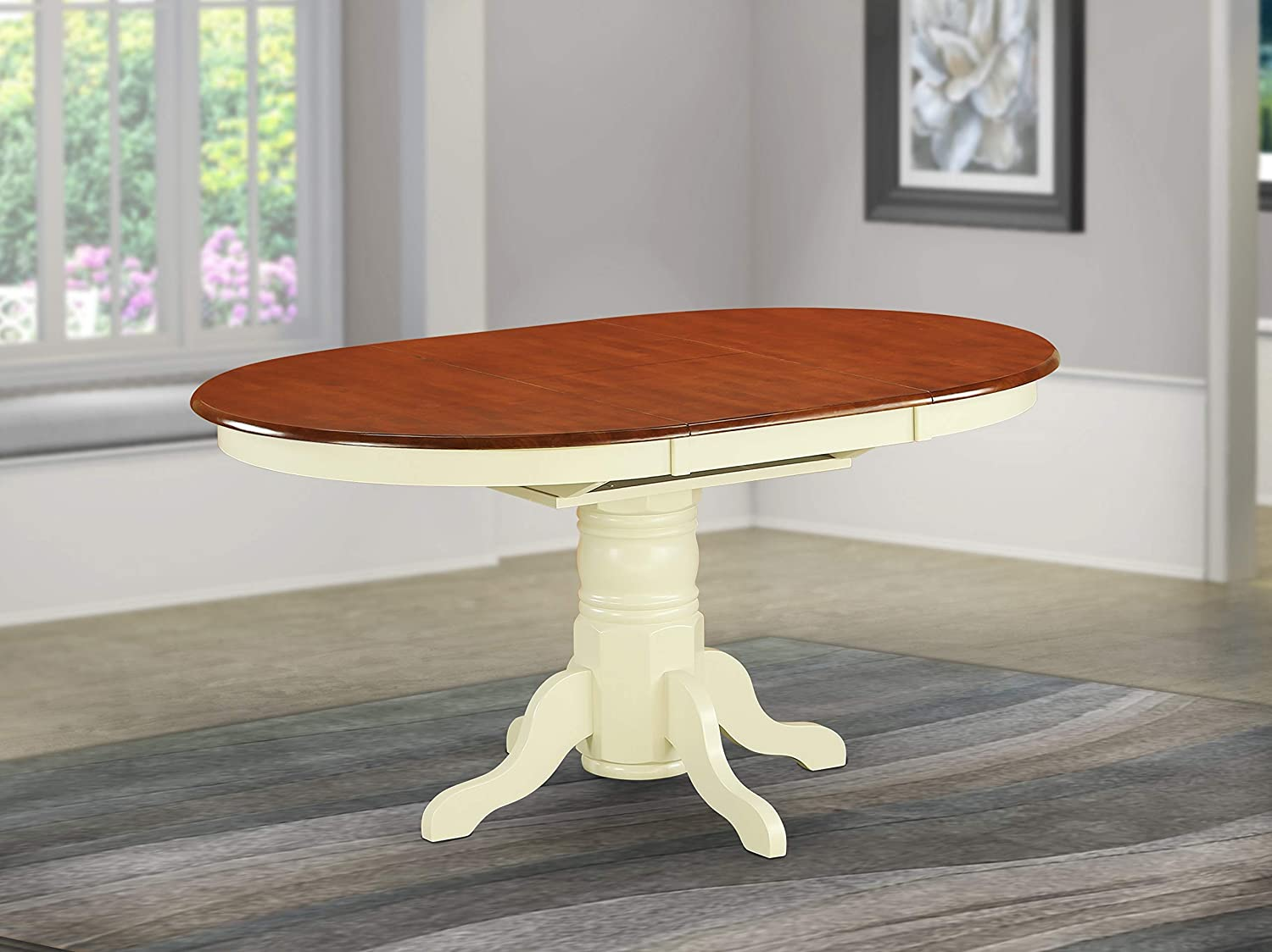East West Furniture AVT-WHI-TP Oval 42/60-Inch Table with 18-Inch Butterfly Leaf, Medium, Buttermilk and Cherry Finish