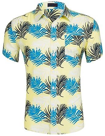 6db0260272 DOKKIA Men's Tropical Short Sleeve Beach Party Luau Aloha Hawaiian Shirt