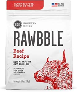 BIXBI Rawbble Freeze Dried Dog Food, Beef Recipe, 4.5 Ounce
