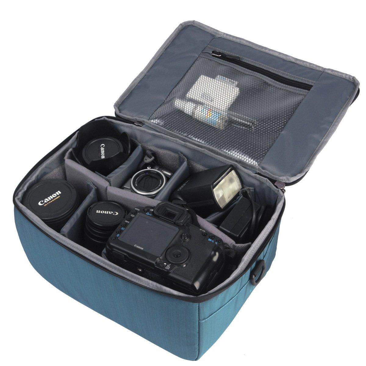 Partition antichoc étanche appareil photo Sacs rembourré SLR Housse de protection Insérer DSLR avec poignée supérieure et une bandoulière réglable pour la lentille Shot DSLR Ou Flash Light (Black, L) Yimidear