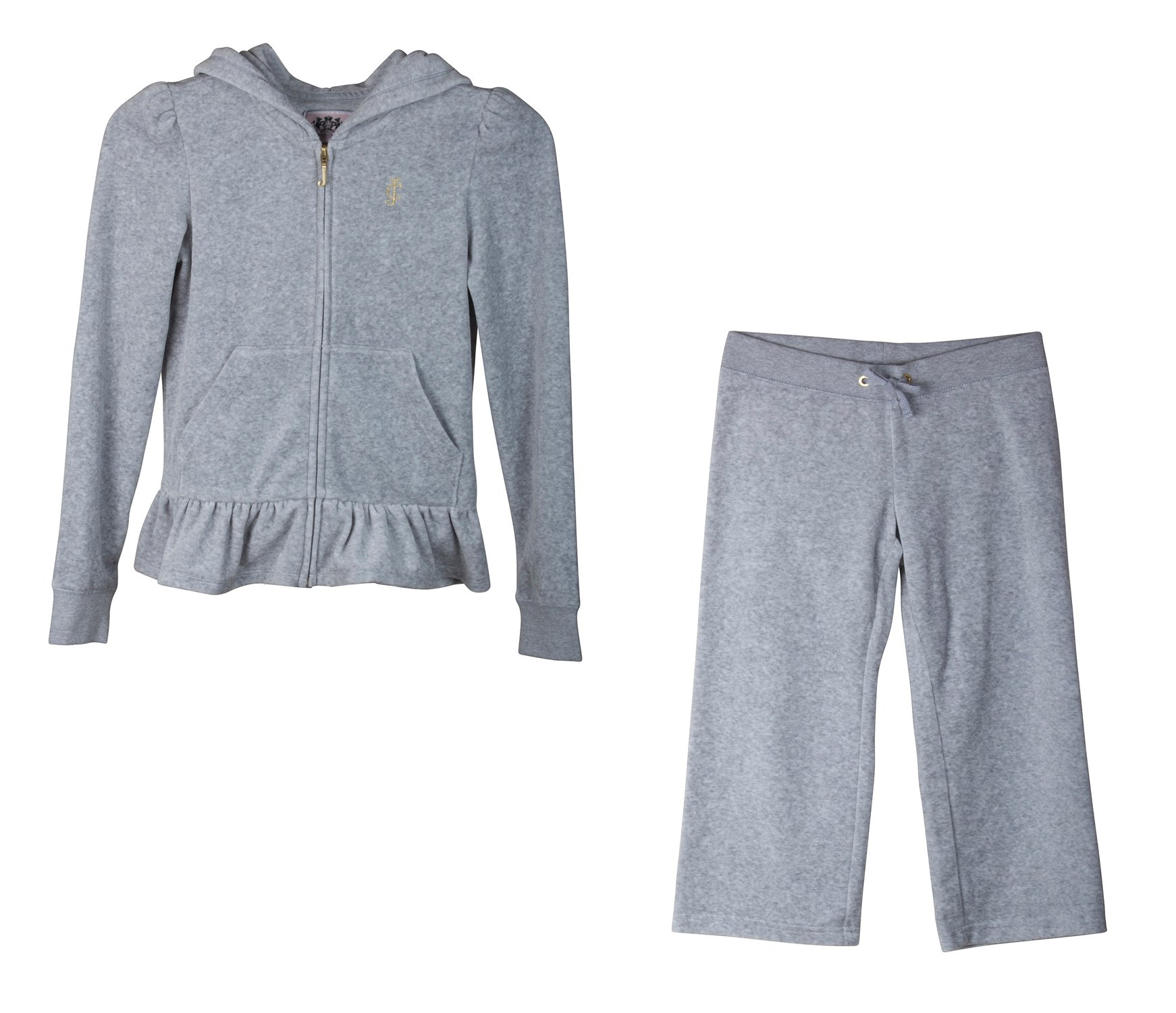 Juicy Couture 2 Piece Fashion Velour, Ruffle Tracksuit; Hoodie and Pants (Large, Silver Grey)