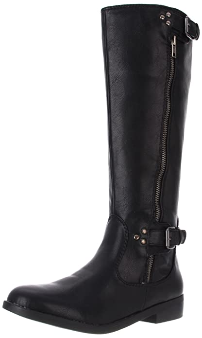 Amazon.com | R2 Women's Hanna Flat Boot, Black, 8 M US | Knee-High
