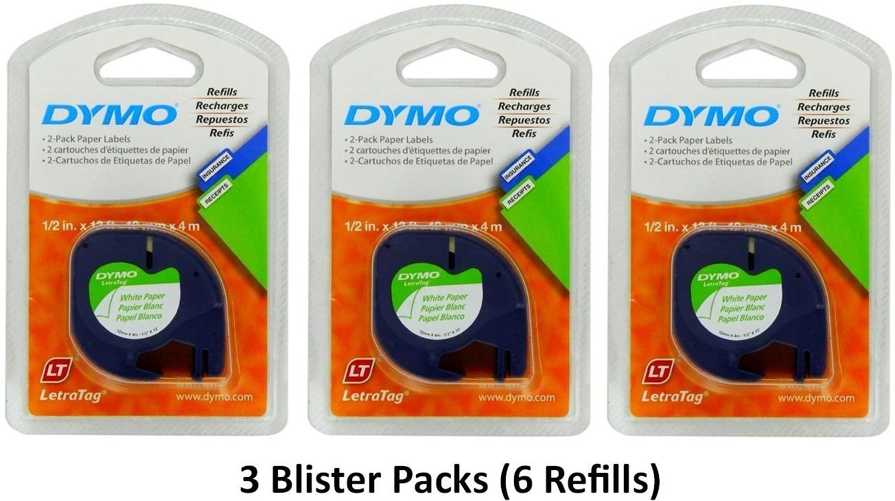 Dymo 10697 Self-Adhesive White Paper Labeling Tape for LetraTag (LT) Label Makers; 3 Blister Packs (6 Refills); Each with Two 1/2'' Wide x 13ft Long (12mm x 4m) Refill Rolls