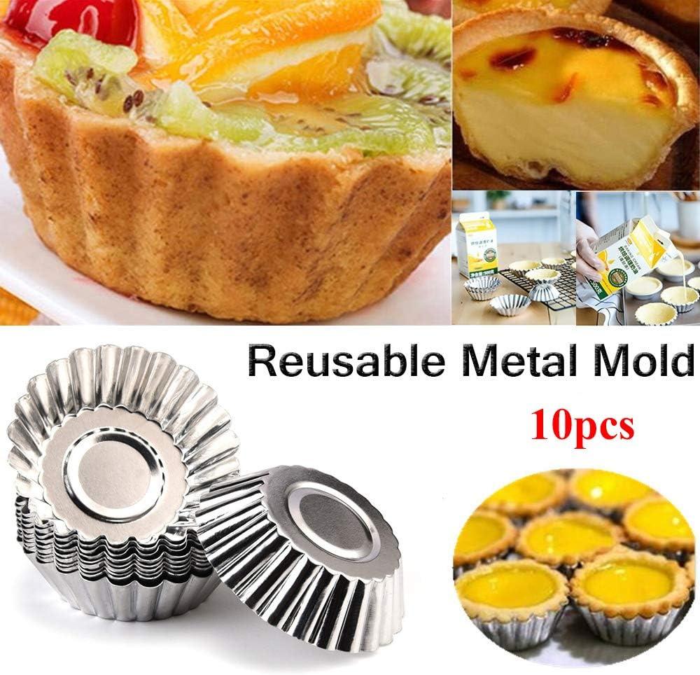 AISE 10 pcs En Aluminium Oeuf Tarte Moule R/éutilisable Cuisson Tasse pour Cupcake Cookie Dessert Ustensiles De Cuisson