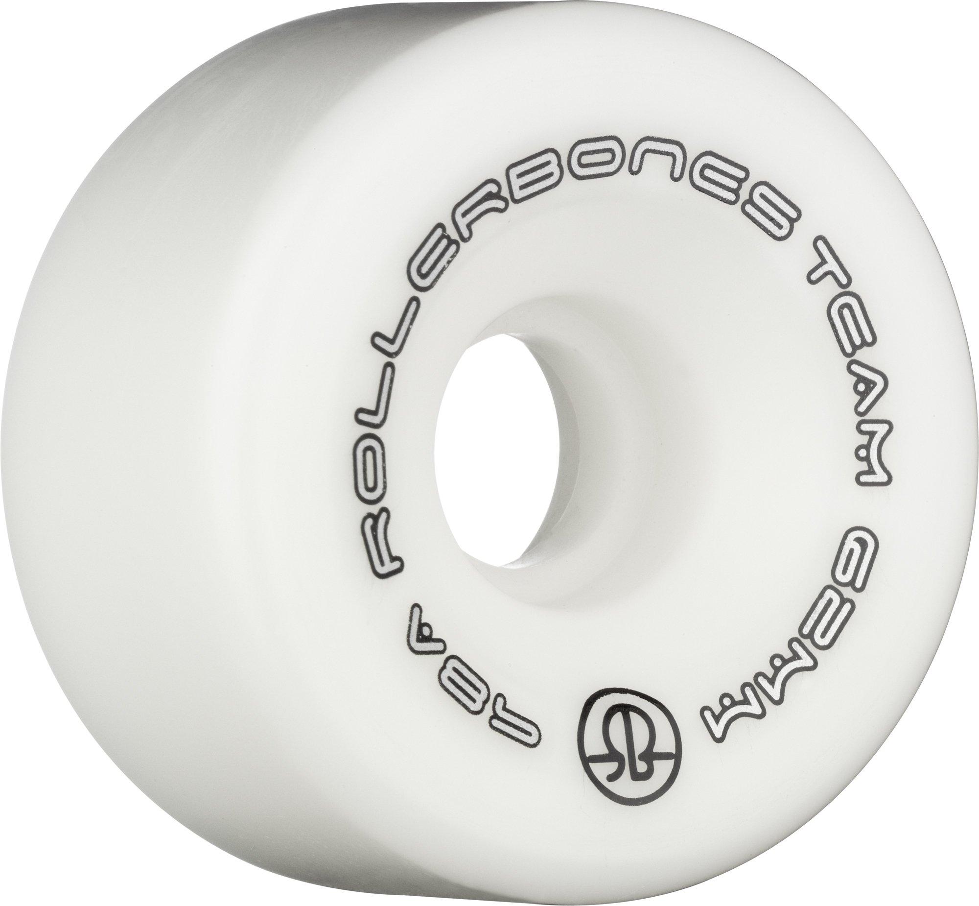 RollerBones Team Logo Recreational Roller Skate Wheels (Set of 8), White, 62mm
