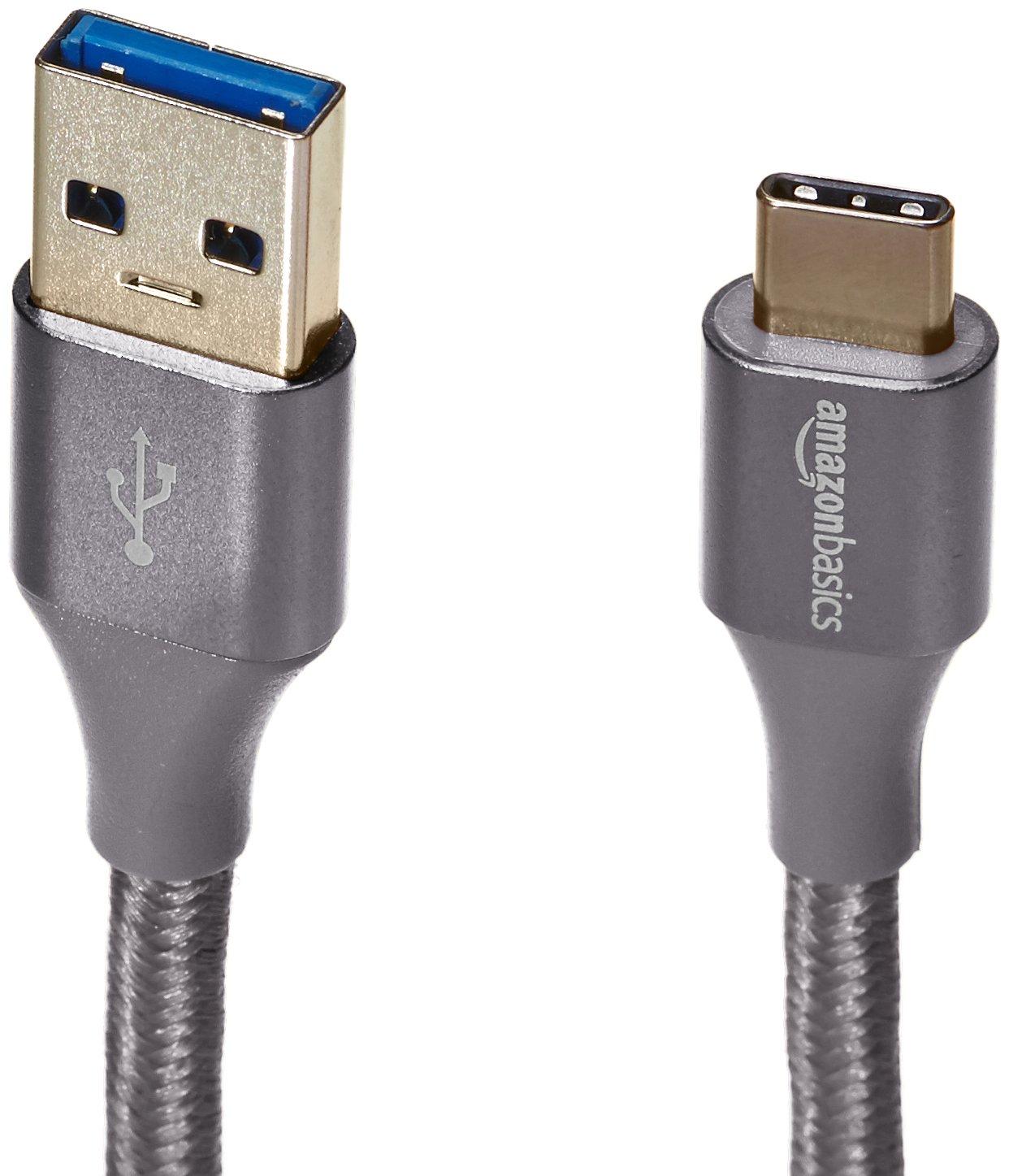 AmazonBasics Double Braided Nylon USB Type-C to Type-A 3.1 Gen 2 Cable   1 feet, Dark Grey by AmazonBasics (Image #5)