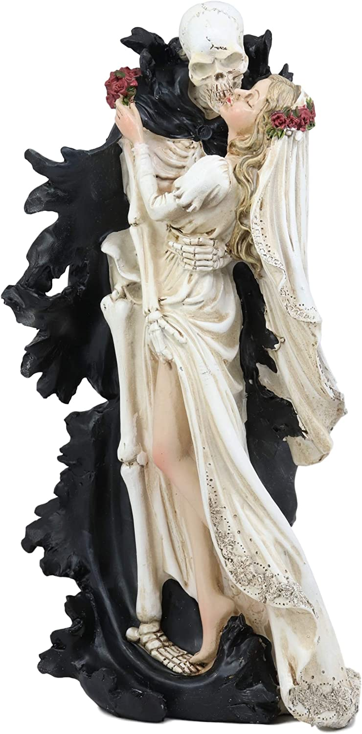 """Ebros Wedding Bride and Death Angel Grim Reaper Skeleton The Kiss Figurine 14.25"""" Tall Love Never Dies Day of The Dead DOD Skulls Ossuary Macabre Graveyard Spooky Halloween Red Roses Decor Statue"""