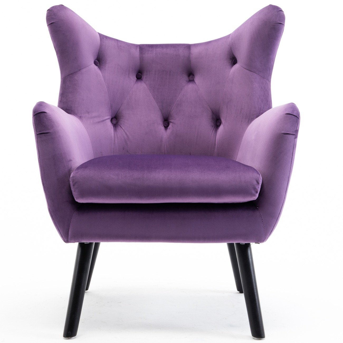 Belleze Accented Wing Back Mid Century Button Tufted Chair Wood Leg Polyester Upholstered Living Room Arm Chair Purple