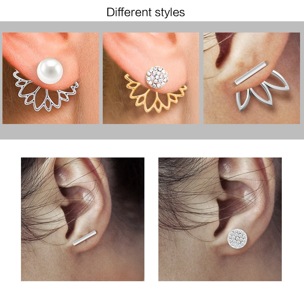 10 Pairs Ear Jacket Stud Lotus Flower Earrings For Women 020316 Swarovski Elements Anting And Girls Set Sansitive Ears Simple Chic Jewelry