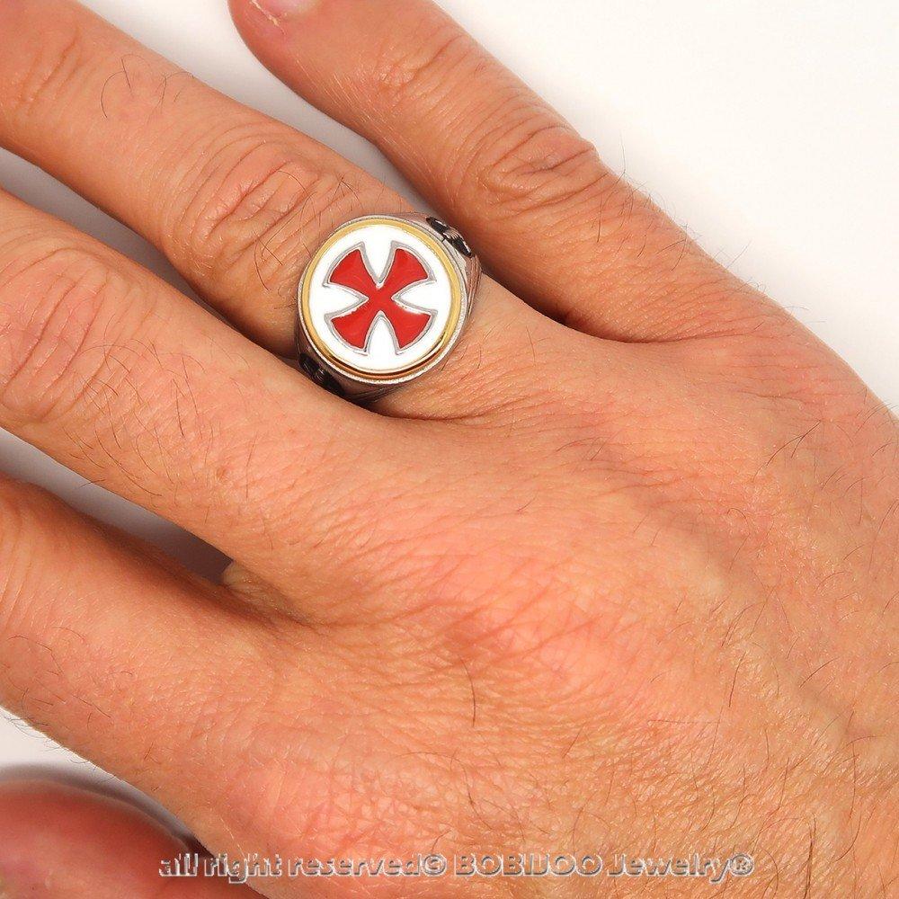 Bague Chevali/ère Homme Templier Vintage Croix Rouge Ep/ée Acier Dor/é Argent/é BOBIJOO Jewelry