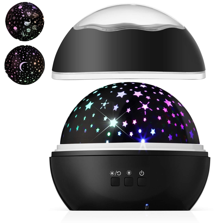 REMU Night Light Projector, Rotating Night lamp, Ocean Undersea Lamp and Star Night Light Projector for Bedroom, Black