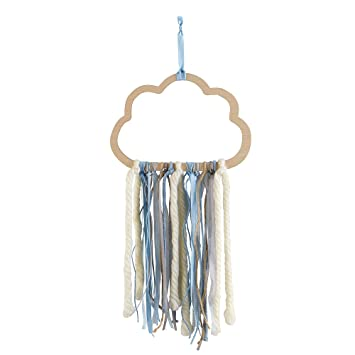 Wendy Bellissimo Hanging Wood Wall Art Wall Decor Cloud Ribbon In Blue Grey