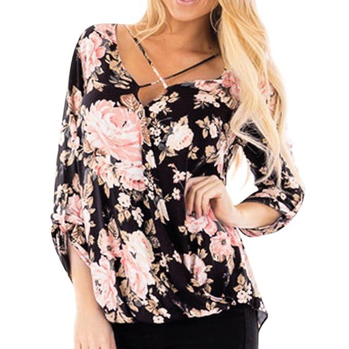 Btruely Herren_camisetas Mujer 2018 Manga Larga Blusa El Dobladillo Irregular Impresa Floral Ocasional Blusa del Vendaje