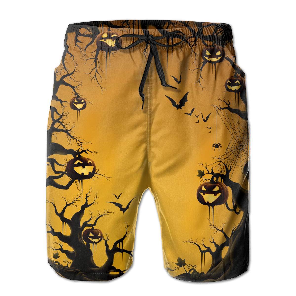 Wexzss Happy Halloween Funny Summer Quick-Drying Swim Trunks Beach Shorts Cargo Shorts