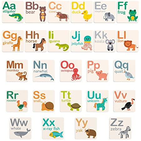 Fawn Hill Co. Alphabet Fridge Magnets | Magnetic Letters With Educational Animal Designs | Abc Magnets With Heavy Duty Strength For All Metal Surfaces | 2 X 2 Inches by Fawn Hill Co.