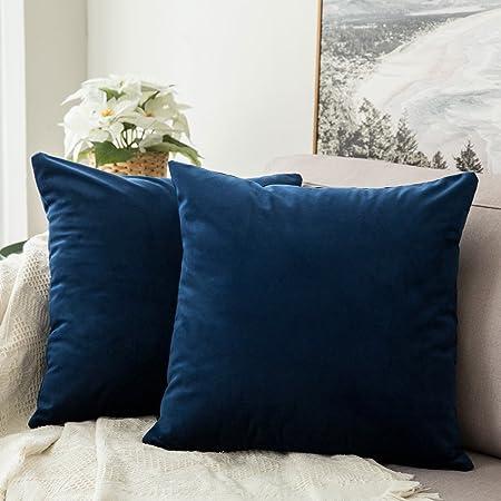 MIULEE Pack de 2 Fundas para Cojines Protectore Terciopelo Suave Juego de Mesa de Manta de decoración Cuadrado Fundas de Almohada Funda de cojín para sofá Dormitorio 60x60cm 2 Piezas Azul Oscuro: