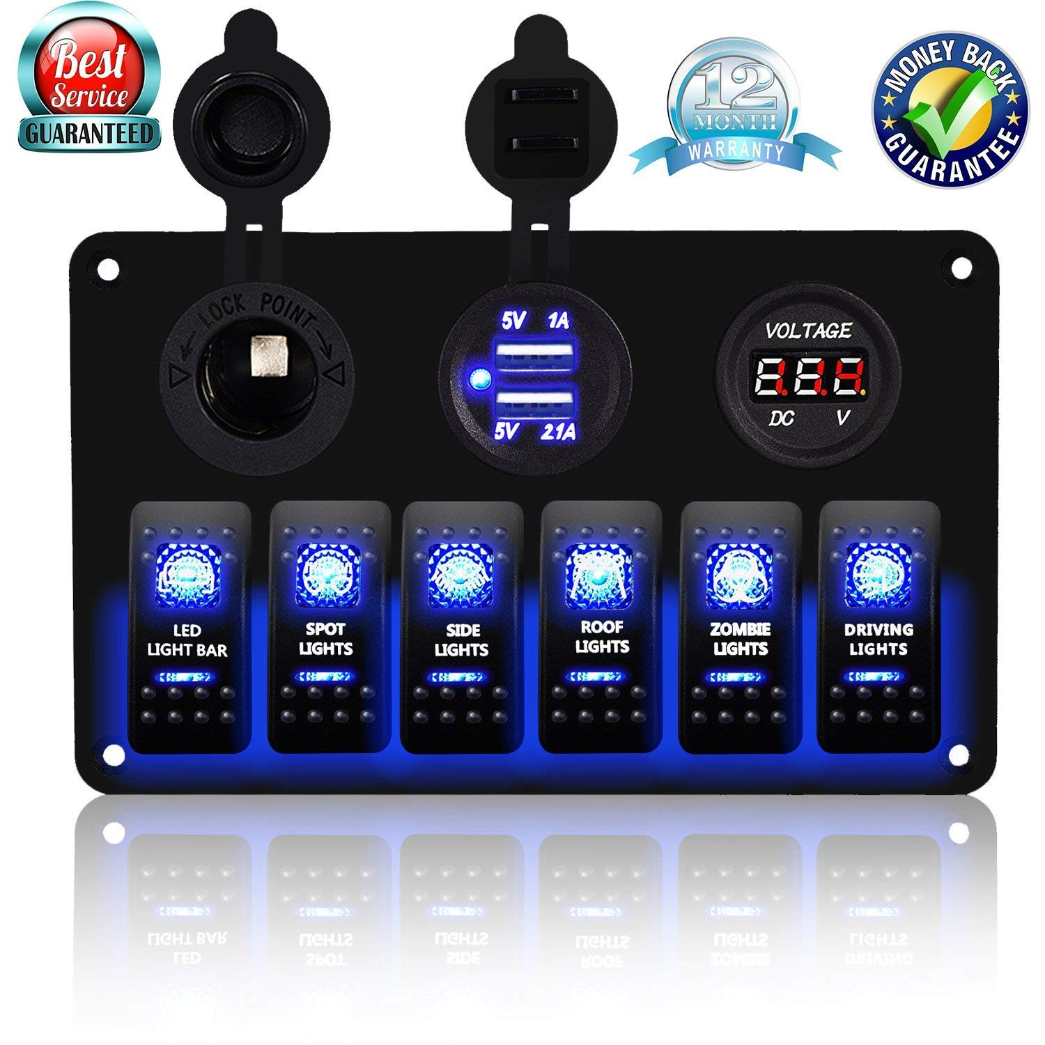 DCFlat 4 Gang / 6 Gang / 8 Gang Circuit LED Car Marine Boat Rocker Switch Panel Dual USB Waterproof Power Socket Breaker Voltmeter Overload Protection (6 Gang Aluminum Panel) by DCFlat