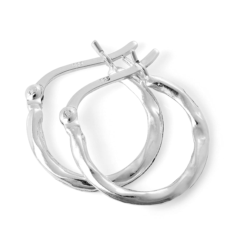 Light Sterling Silver Warped Creole 14mm Hoop Earrings jewellerybox HAR-0267