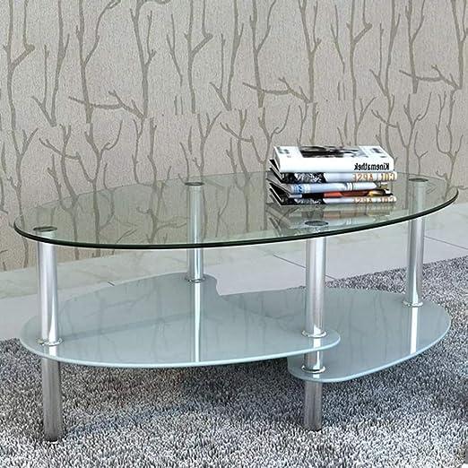 Wakects Mesa de Centro Salon,Mesa de Centro de Vidrio con Diseño ...