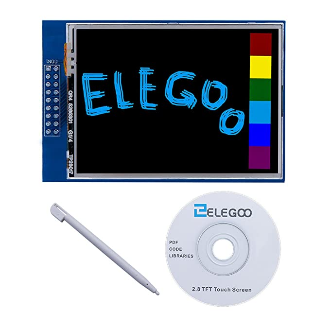 Elegoo EL-SM-004 UNO R3 2.8 inches TFT Touch Screen with SD Card Socket w/All Technical Data in CD for Arduino UNO R3 Motherboards at amazon