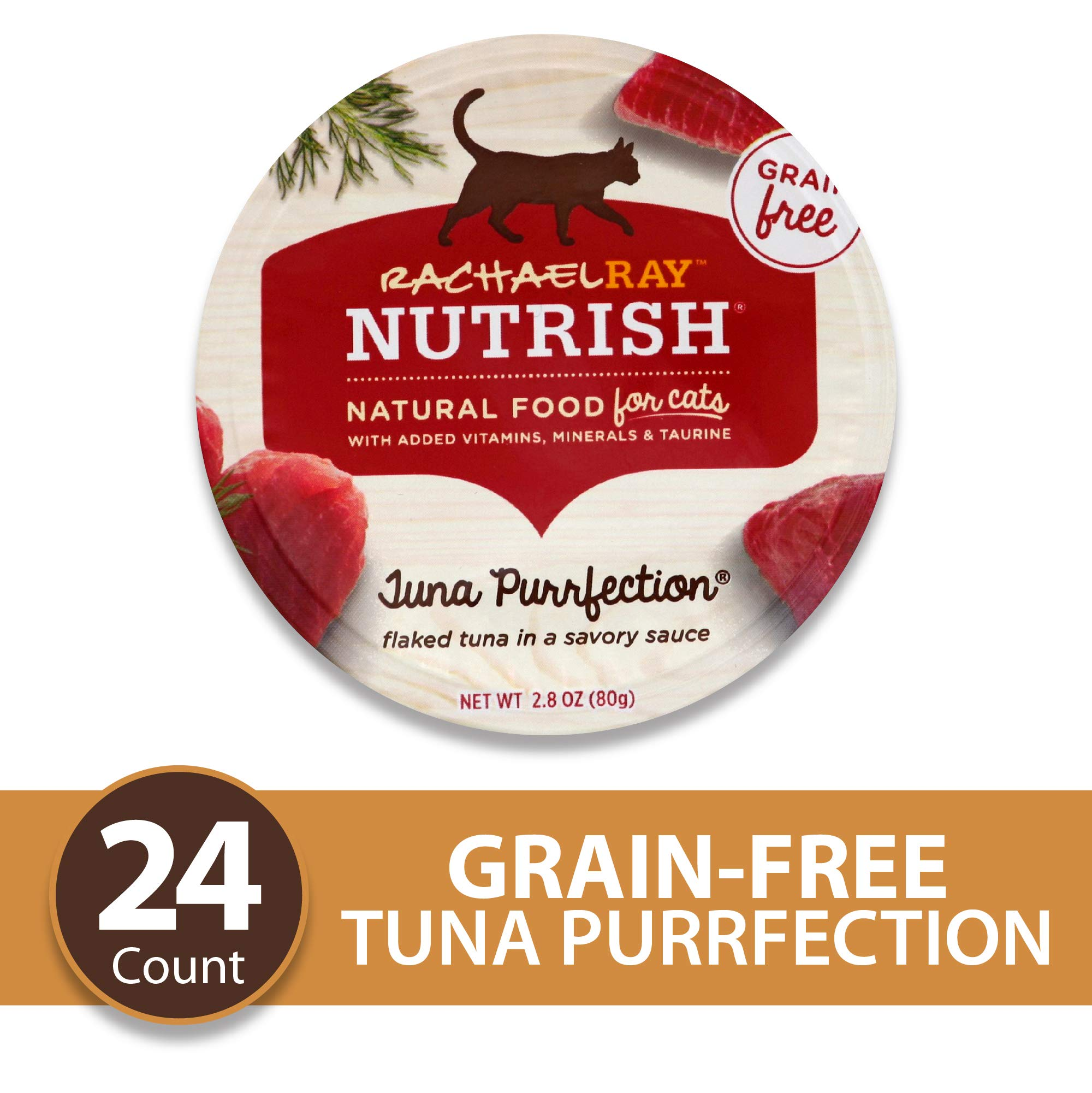 Rachael Ray Nutrish Natural Premium Wet Cat Food, Tuna Purrfection, Grain Free, 2.8 Oz. Tub (Pack Of 24) by Rachael Ray Nutrish