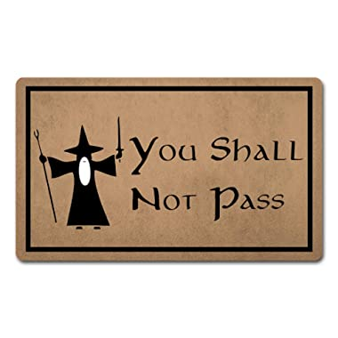 Welcome Mat Funny Doormats Anti-Slip Door Mat for Entrance Way Indoor/Front Door/Kitchen Mats and Rugs Area Rugs Rubber Mat 18 (W) x 30 (L) (You Shall Not Pass Lord of The Rings)
