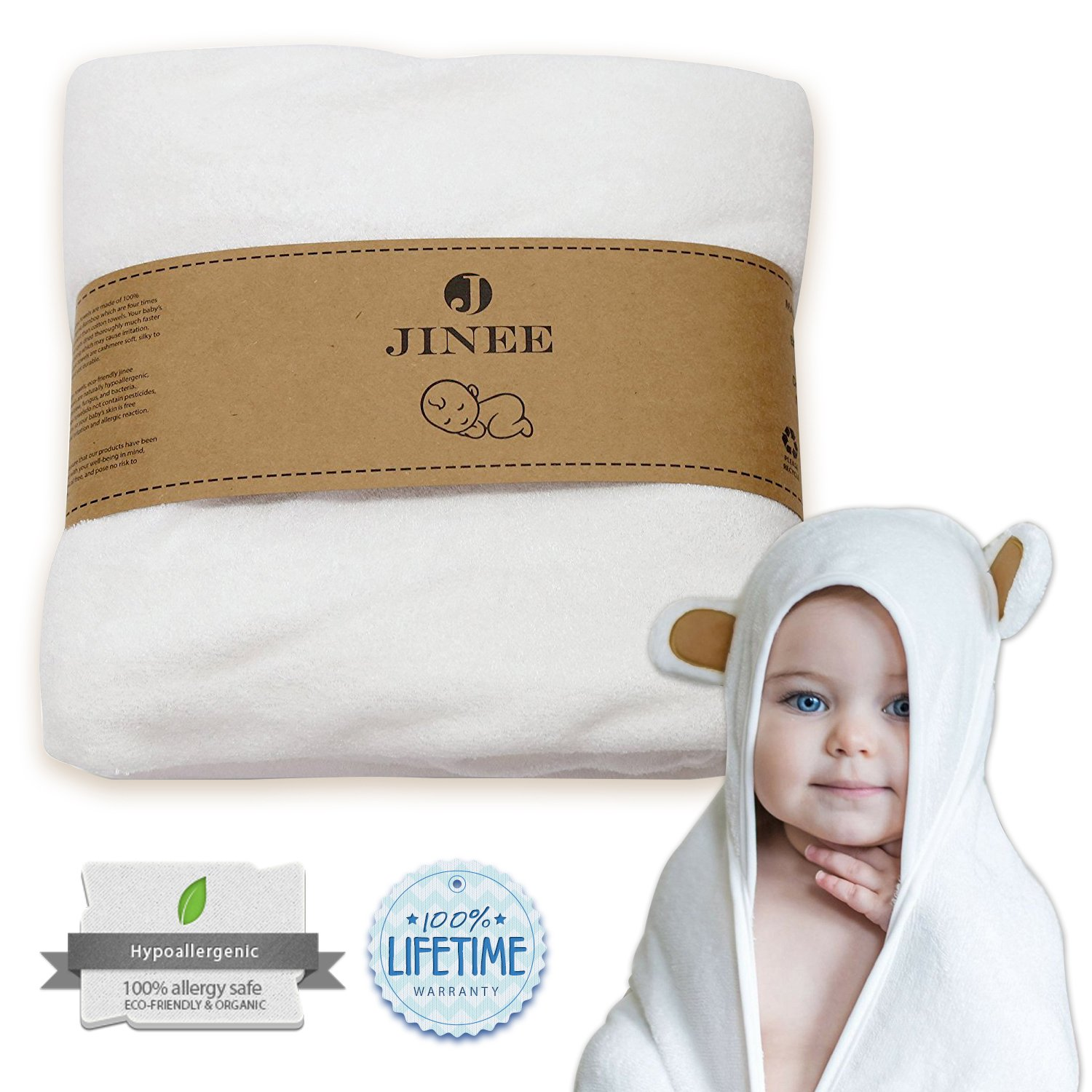 """Jinee Organic Hooded Baby Towel - Ultra Soft Natural Bamboo Towels with Hood for Boy, Girl, Infant, Newborn or Toddlers - Keeps Your Little One Dry & Warm - Hypoallergenic, Antibacterial, 35"""" x 35"""""""