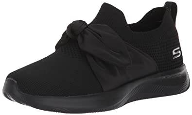 Skechers BOBS Women's Bobs Squad 2-Bow Overlay Slip on Engineered Knit  Sneaker W Memory Foam