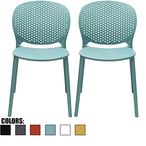 Fine 2Xhome Set Of 2 Blue Contemporary Modern Stackable Assembled Plastic Chair Molded With Back Armless Side Matte For Dining Room Living Designer Outdoor Ncnpc Chair Design For Home Ncnpcorg