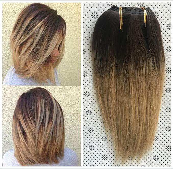 10 Inches Straight 80gr Full Head 100% Real Clip in Human Hair Extensions (Darkest brown to honey blonde)