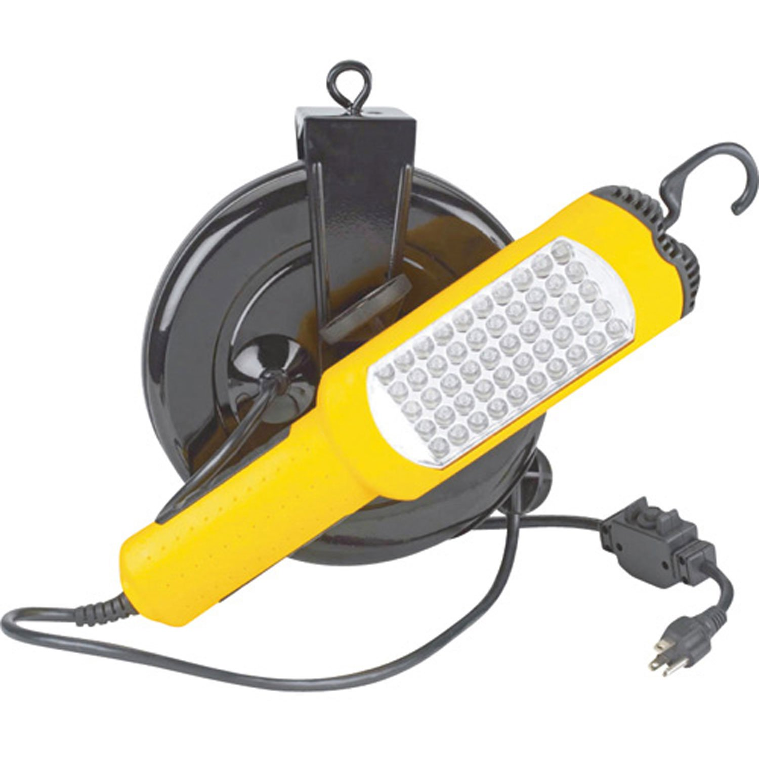 30' 16/3 SJTW Cable Reel, 50 Led Work Light W/ 10A Cb Outlet In Handle, LE2630L50