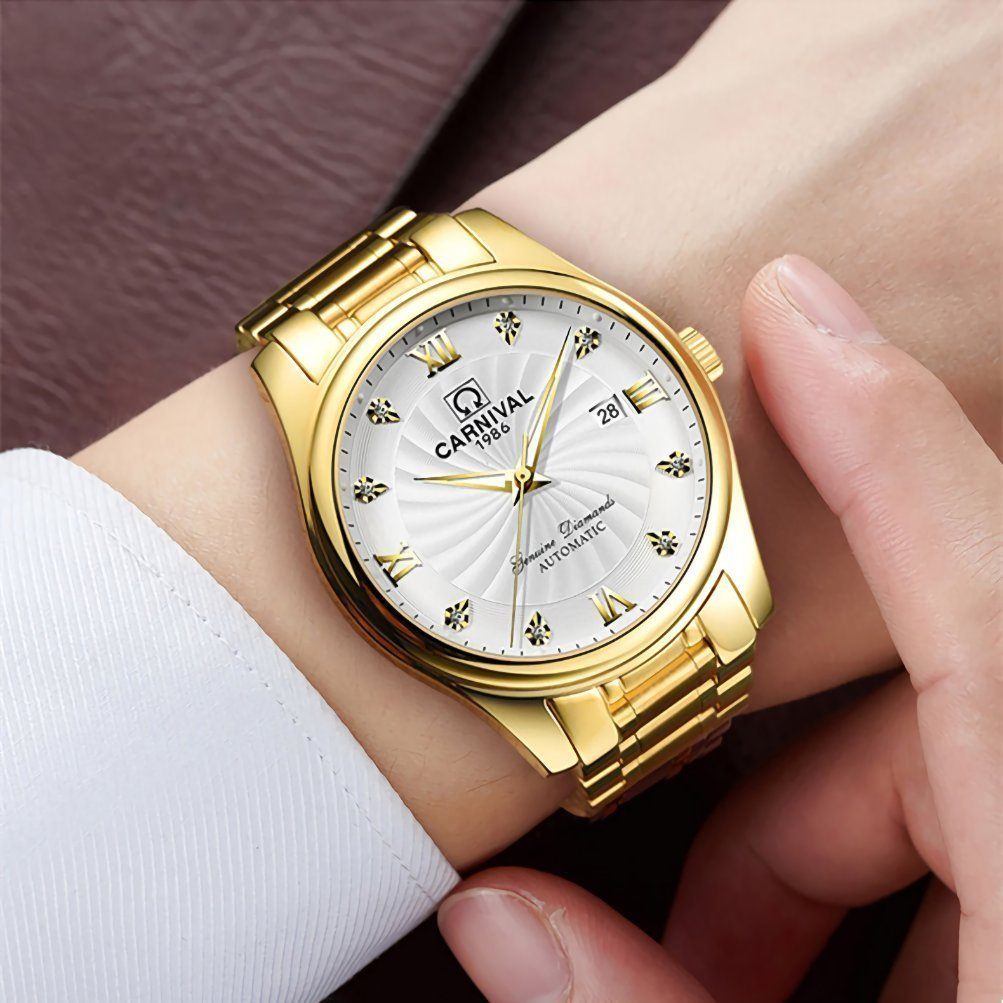 Men and Women Couples Automatic Mechanical Gold & Silver Stainless Steel Watches Gift Set Sapphire Watch (Gold White) by MASTOP (Image #4)