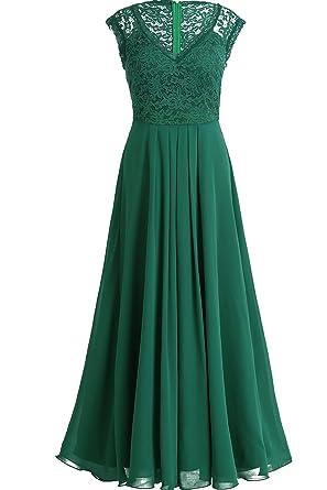 Tiaobug Elegant Damen Kleider festlich V-Ausschnitt Cocktailkleid Lange  Chiffon Abendkleider Brautjungfernkleid Gr. 34-46  Amazon.de  Bekleidung 576fea539a