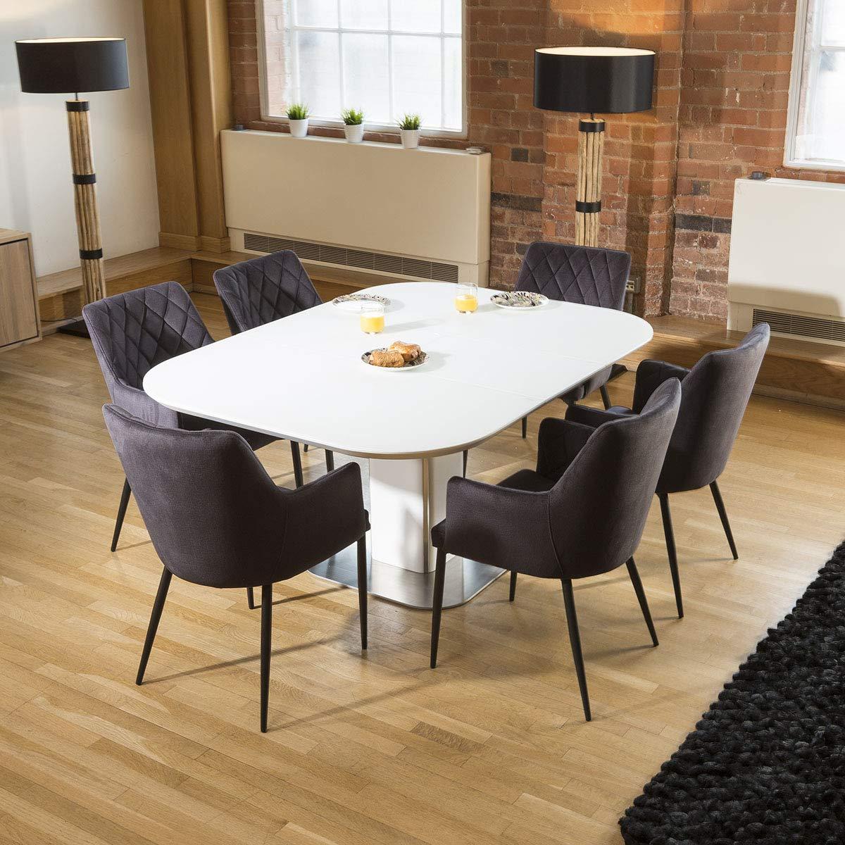 Quatropi Dining Set White Glass Square Extending Table +10 Charcoal Carver  Chair